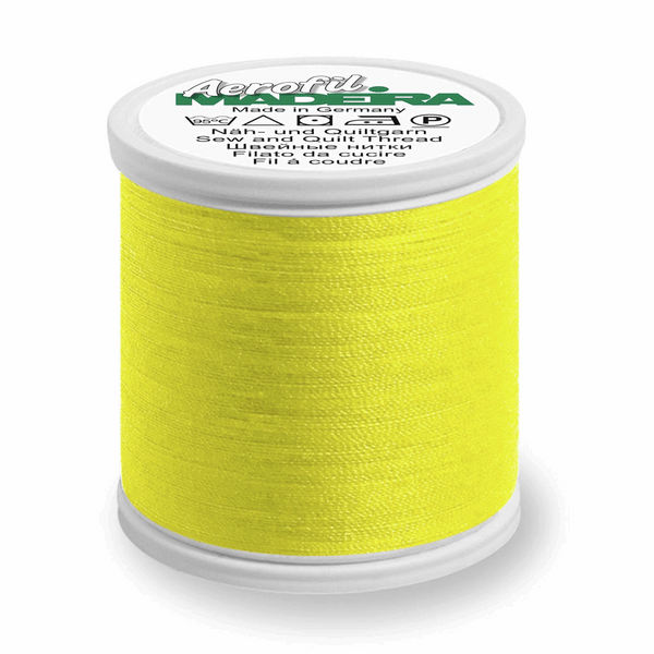 Neon Yellow - Madeira Aerofil No.120 Sew All Thread 400m-Madeira-Splashings of Fabric