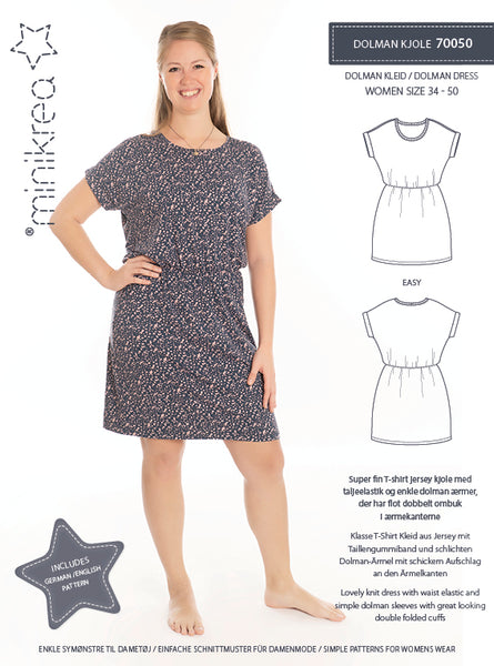 MiniKrea - 70050 Dolman Dress – Paper Pattern-MiniKrea-Splashings of Fabric