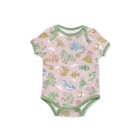 Baby Dragons - Pink - Organic Jersey-fossan-Splashings of Fabric