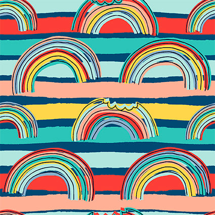 EXCLUSIVE - Little Monster Rainbows - Navy - Organic Jersey-Custom-Splashings of Fabric