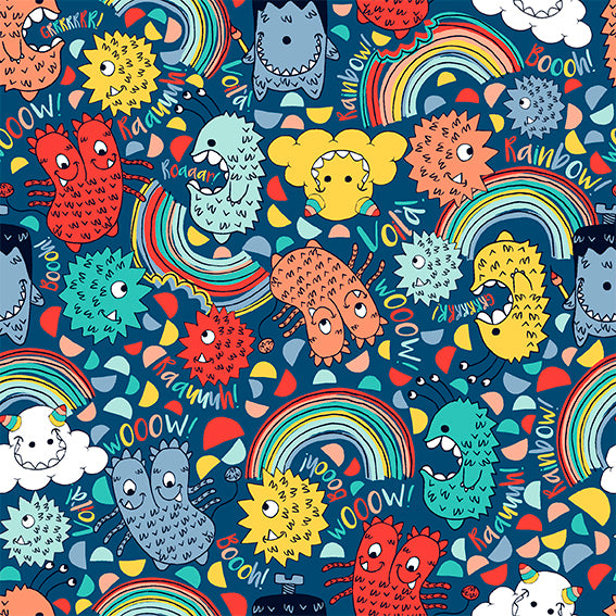 EXCLUSIVE - Little Monsters - Navy - French Terry-Custom-Splashings of Fabric