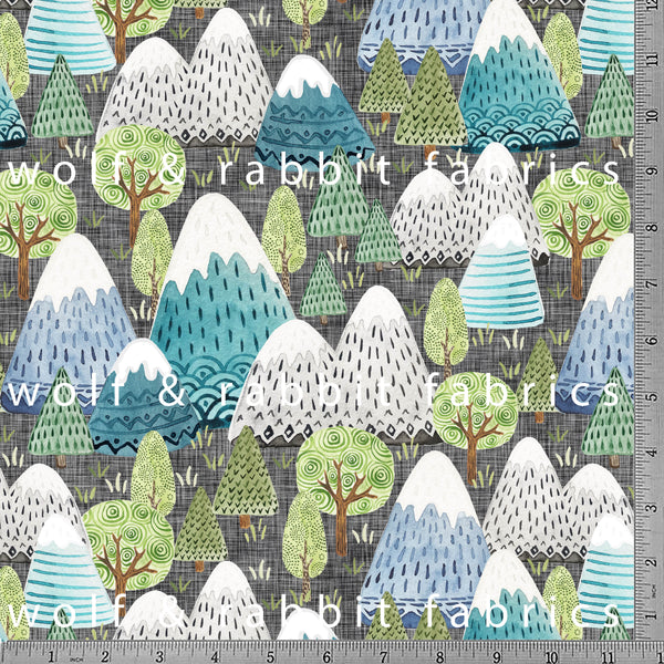 PREORDER - Mountains - GOTs Organic Jersey-Wolf and Rabbit-Splashings of Fabric