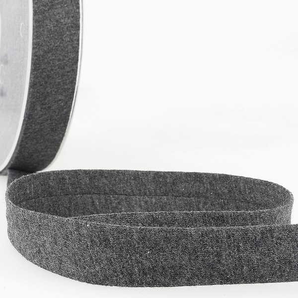 Dark Grey - Melange - 20mm - Stretch Bias Binding-Stephanoise-Splashings of Fabric
