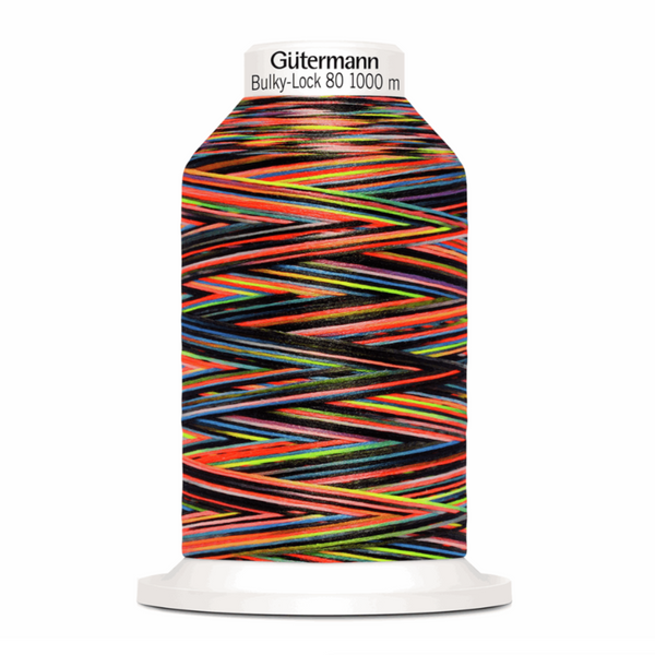 Rainbow Black - Gutermann Creativ Bulky Lock 80 Overlocking Thread 1000m-GUTTERMAN-Splashings of Fabric