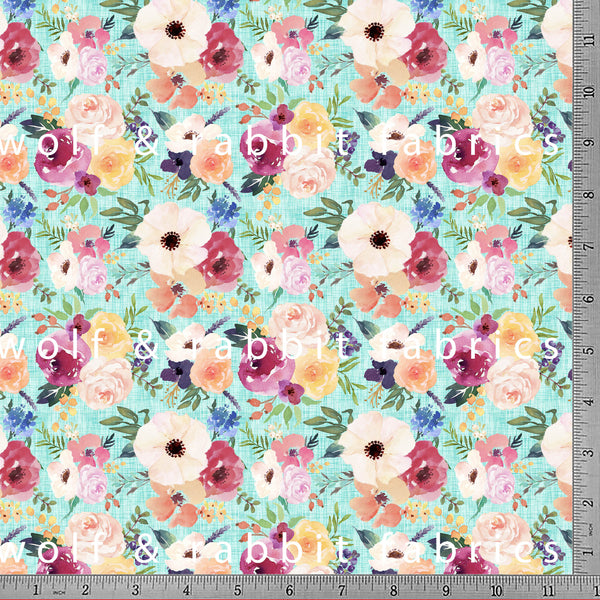 PREORDER - Summer Floral - Mint - GOTs Organic Jersey-Wolf and Rabbit-Splashings of Fabric