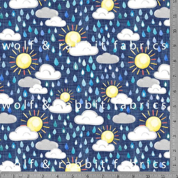 PREORDER - Sun Shower - GOTs Organic Jersey-Wolf and Rabbit-Splashings of Fabric