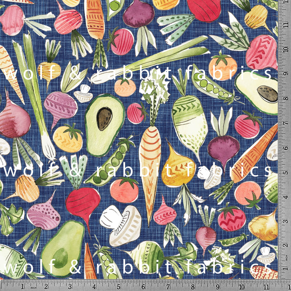 Vegetables - GOTs Organic Jersey-Wolf and Rabbit-Splashings of Fabric