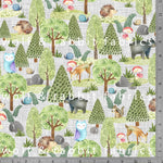 Woodland Animals - GOTs Organic Jersey-Wolf and Rabbit-Splashings of Fabric