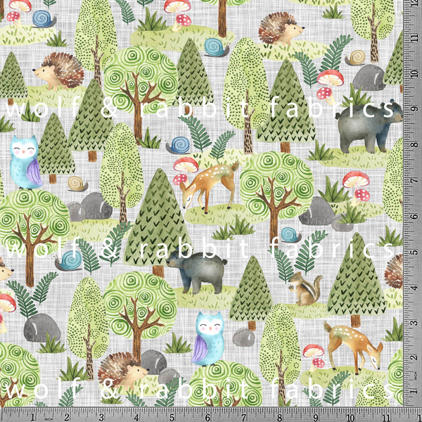 PREORDER - Woodland Animals - GOTs Organic Jersey-Wolf and Rabbit-Splashings of Fabric