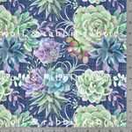 Succulents - Navy - GOTs Organic Jersey-Wolf and Rabbit-Splashings of Fabric