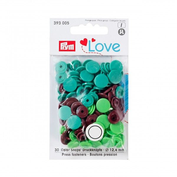 Prym Love Plastic Snaps - Green/Brown Mix-Prym-Splashings of Fabric