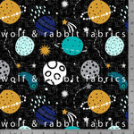 PREORDER - Planets - Black - GOTs Organic Jersey-Wolf and Rabbit-Splashings of Fabric