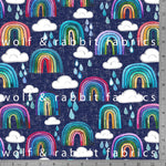 Rainbows & Raindrops - Blue - GOTs Organic Jersey-Wolf and Rabbit-Splashings of Fabric
