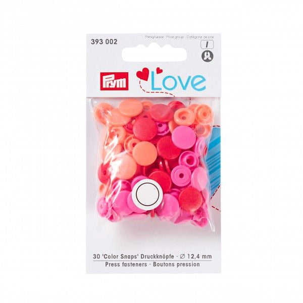 Prym Love Plastic Snaps - Pink/Red Mix-Prym-Splashings of Fabric