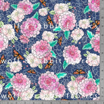 Dahlias & Butterflies - GOTs Organic Jersey-Wolf and Rabbit-Splashings of Fabric