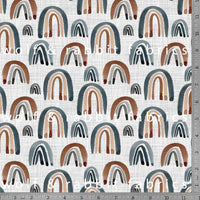 Rainbows - Neutral - GOTs Organic Jersey-Wolf and Rabbit-Splashings of Fabric