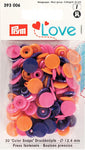 Prym Love Plastic Snaps - Purple/Pink/Orange Mix-Prym-Splashings of Fabric