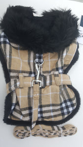 Brown Plaid Classic Dog Coat Harness with Matching Leash