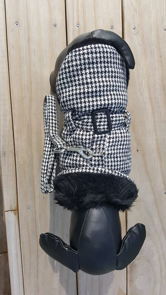 Black Houndstooth coat with matching lead