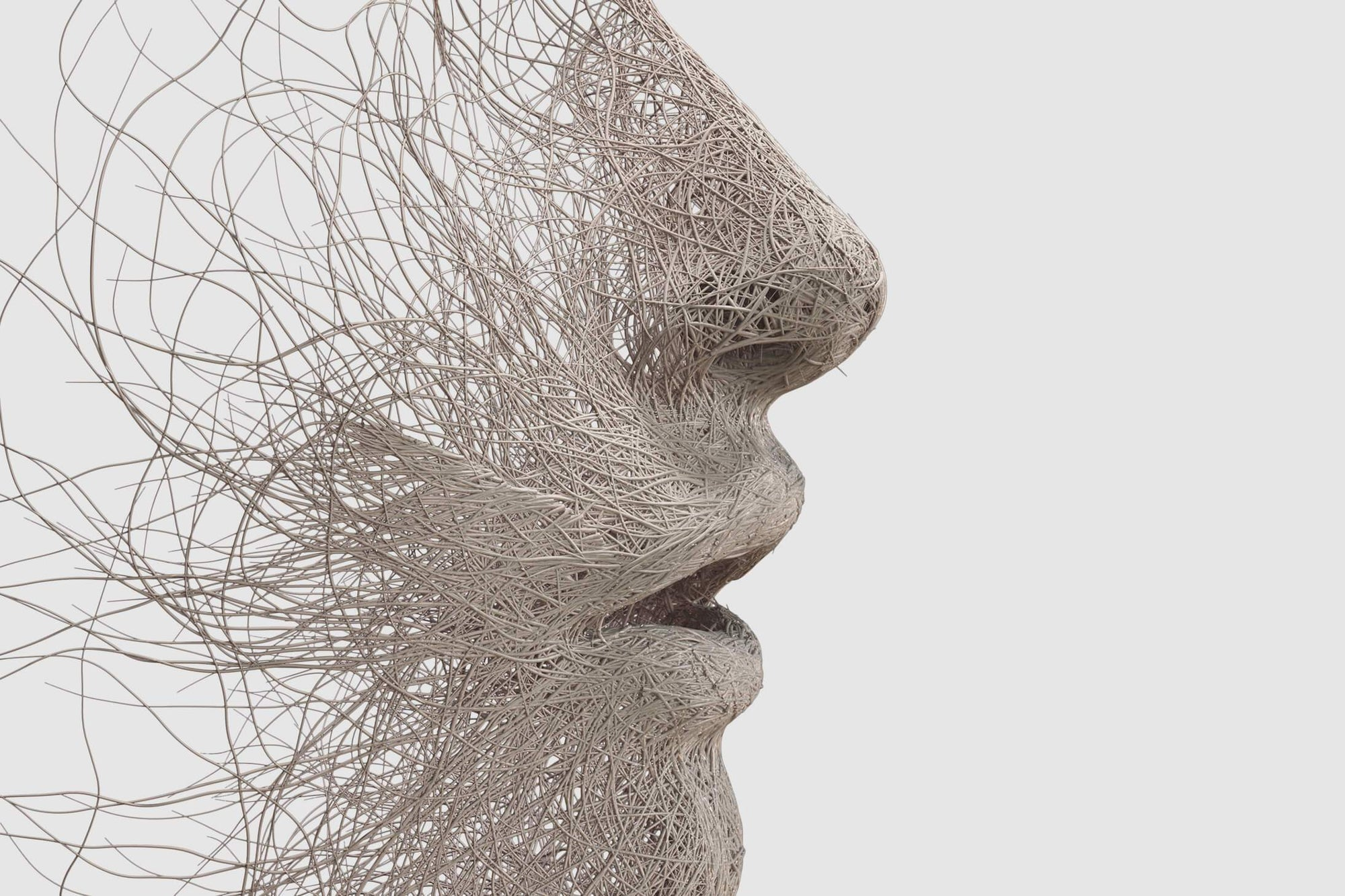 Image of fibers forming a human face taking a deep breath