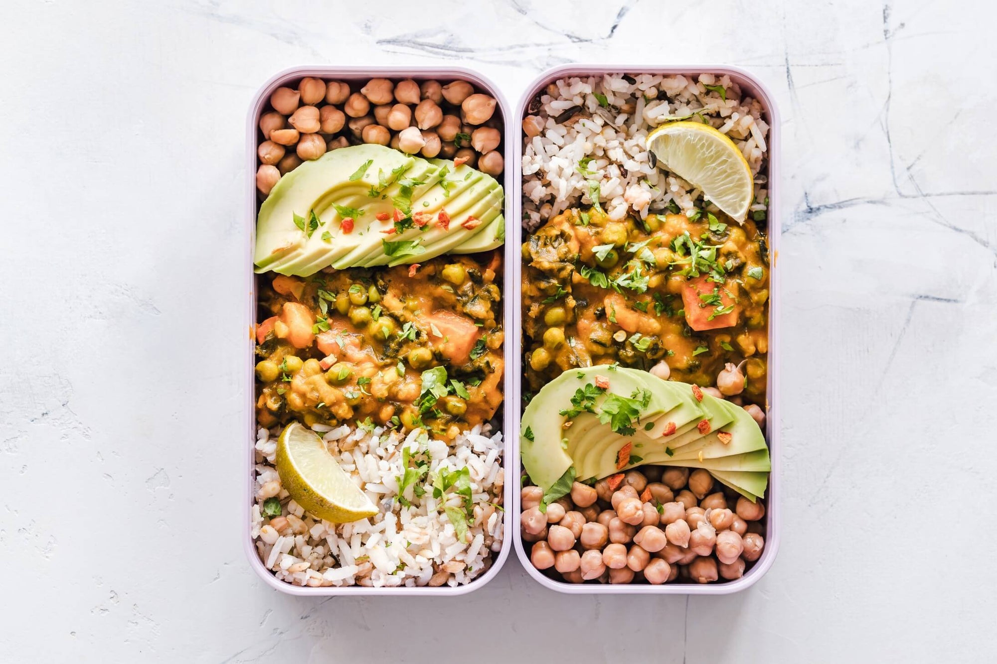 Chickpeas, brown rice and lentils in a to-go container