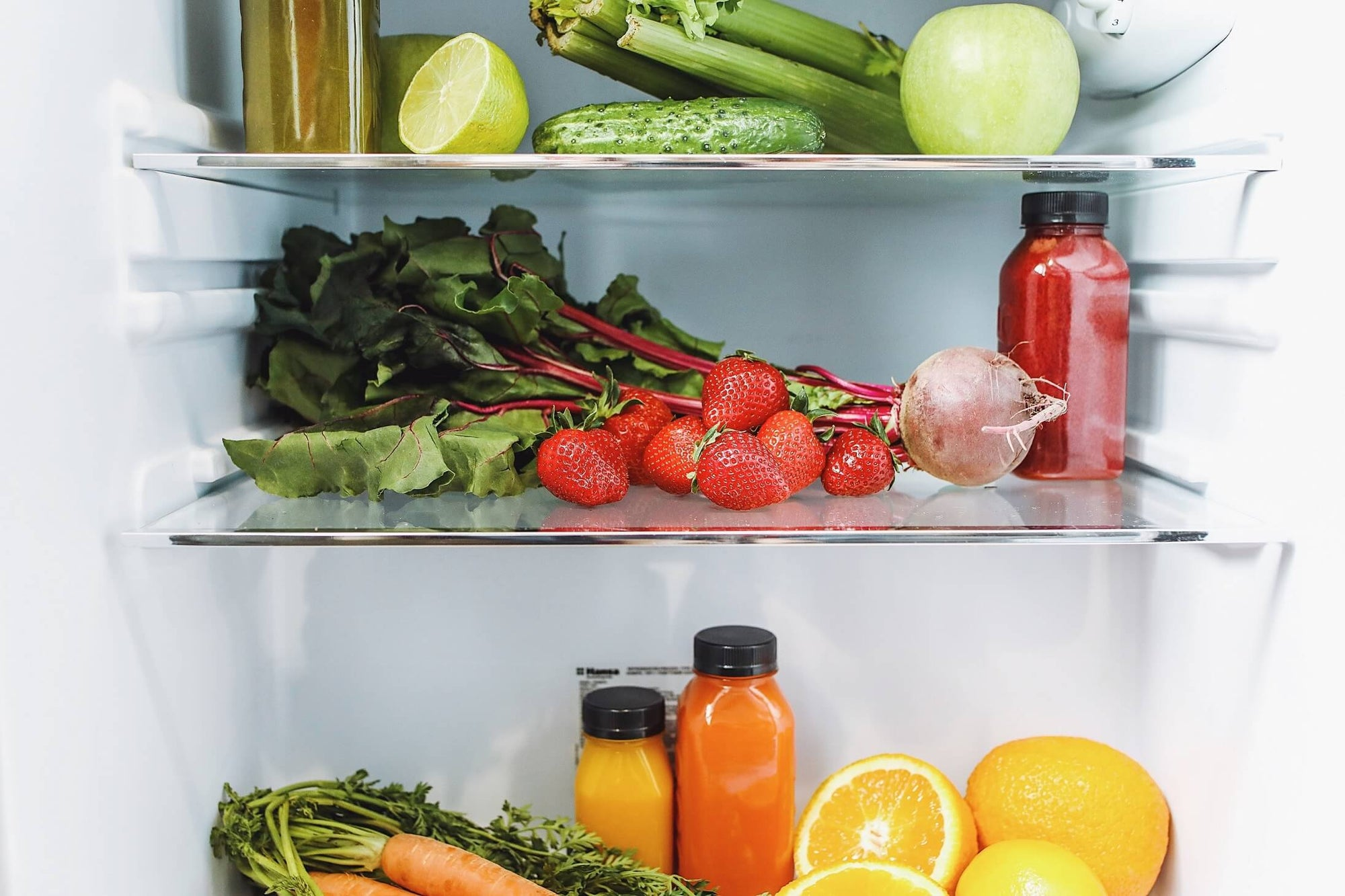 Healthy foods for bone health stocked in the fridge