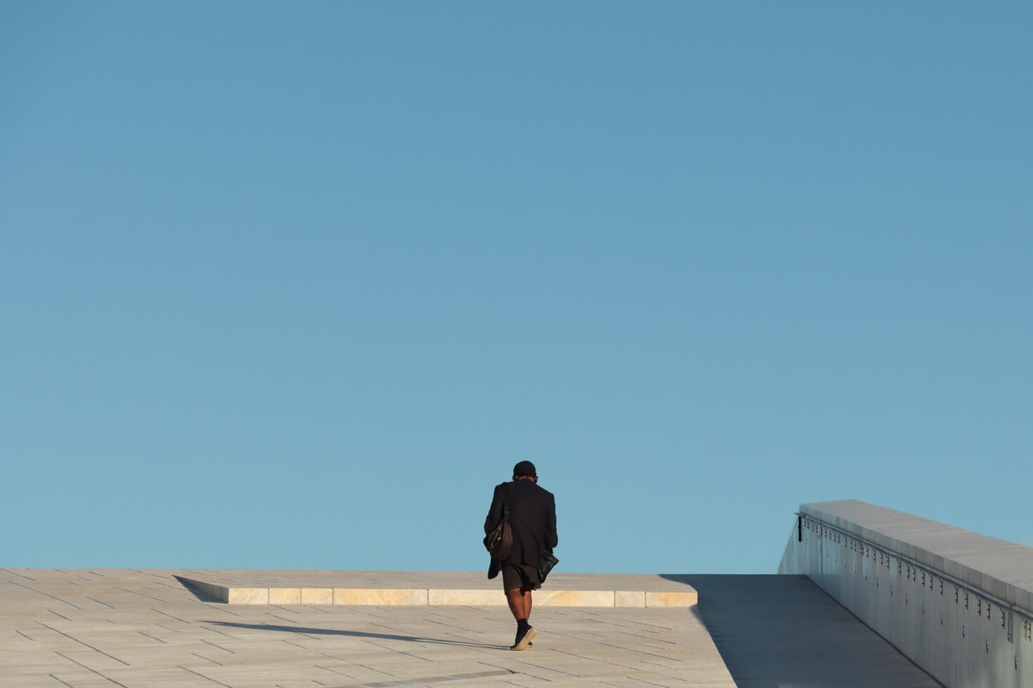 Man walking alone outside