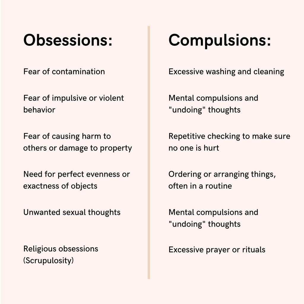 Infographic detailing OCD obsessions versus compulsions