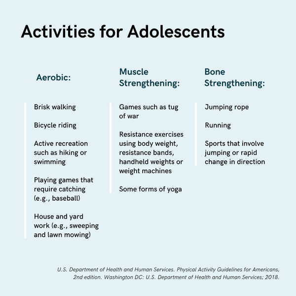 Physical activities for adolescents