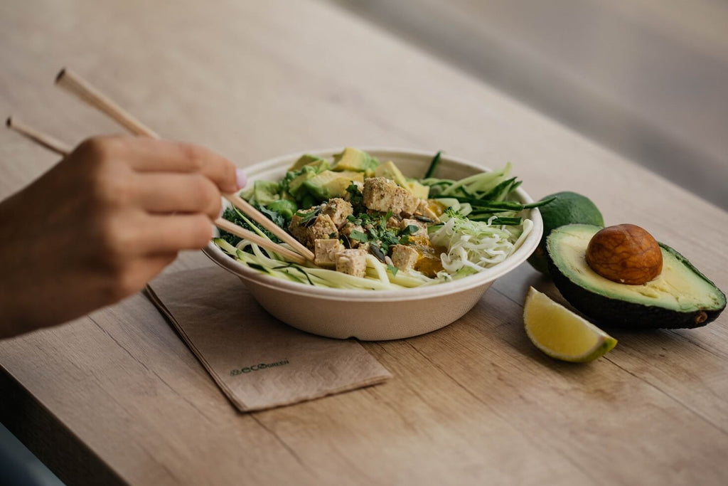 Bowl of healthy food to restore gut health