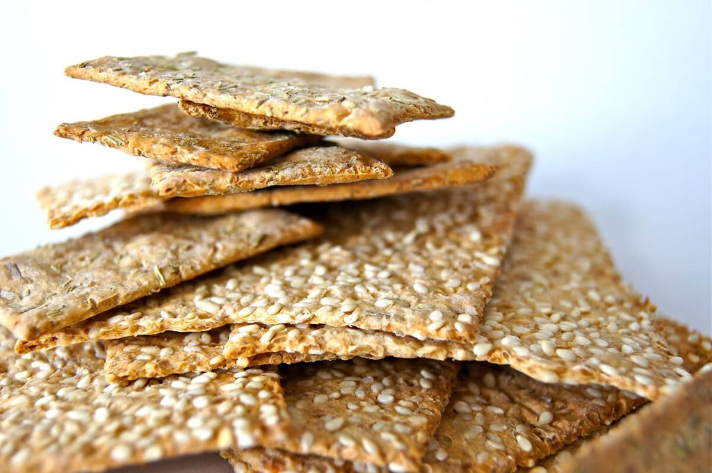 Photo of crackers with sesame seeds on them