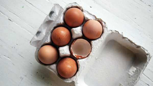 Carton of six eggs on a counter