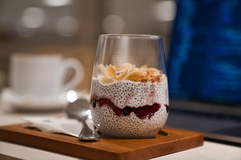 Nutty chia seed pudding in a cup