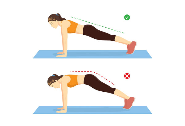 Illustration of a woman doing a plank for ab exercise