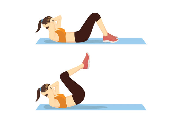Illustration of a woman performing a reverse crunch abdominal exercise