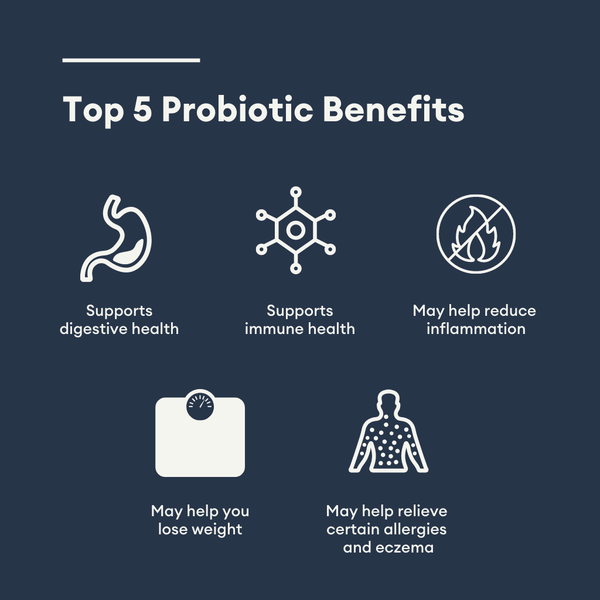 Top 5 probiotic benefits including digestive health, immune health, weight loss, inflammatory support, and certain allergies