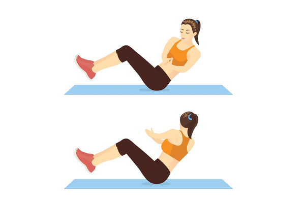 Illustration of woman doing a v-sit twist ab exercise