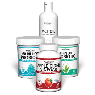 Healthy Weight and Diet Support Bundle with MCT Oil, Apple Cider Vinegar, Thin 30 Probiotic, and 60 Billion Probiotic