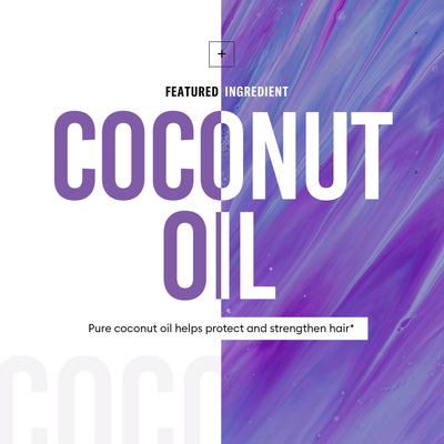 Featured ingredient coconut oil helps protect and strengthen hair