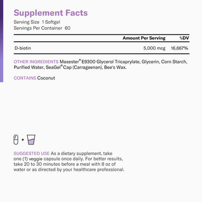 Supplement facts for Physician's Choice Biotin 5,000 mcg