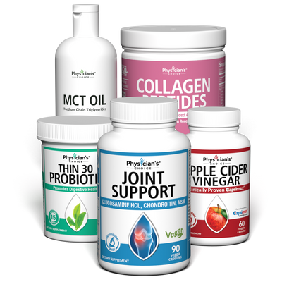 Fitness and Athletics Bundle with Joint Support, Thin 30 Probiotic, Apple Cider Vinegar, Collagen Peptides, and MCT Oil