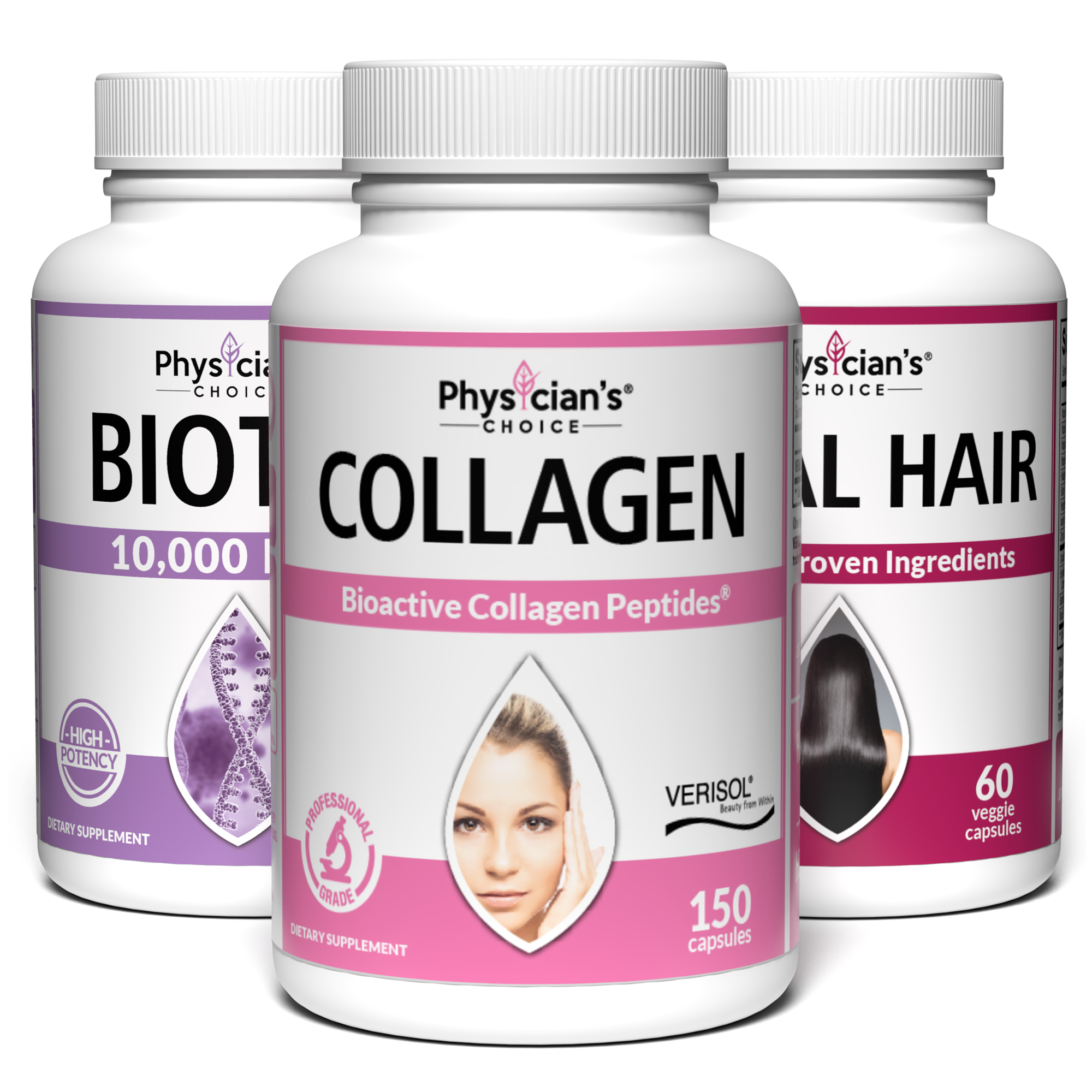 Skin, Nails and Hair Care Bundle with Biotin 10,000 mcg, Verisol Collagen, and Total Hair