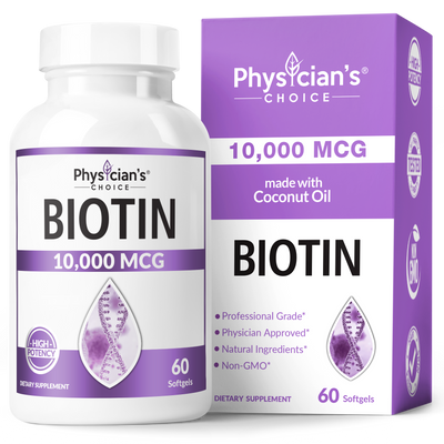 Physician's Choice Biotin 10,000 mcg 60-count bottle
