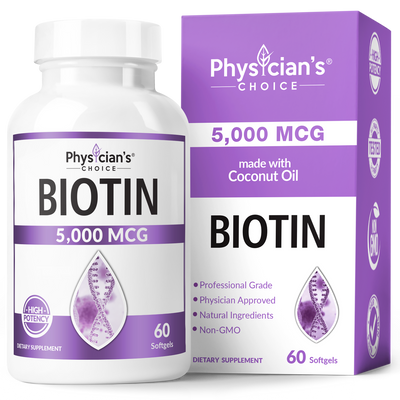 Physician's Choice Biotin 5,000 mcg with coconut oil 60-count bottle