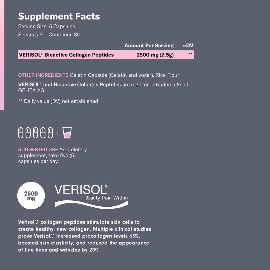 Supplement facts for collagen pills