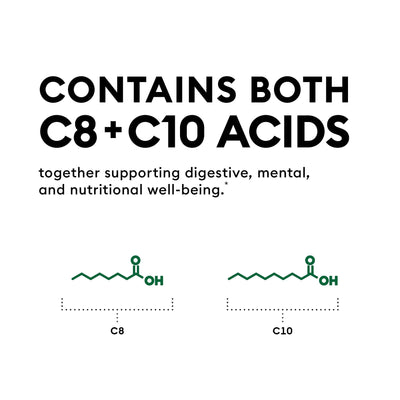 Physician's Choice MCT Oil contains both C8 and C10 acids