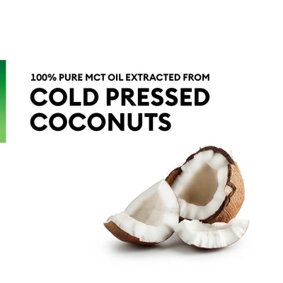 Physician's Choice MCT Oil contains 100% pure MCT oil extracted from cold-pressed coconut