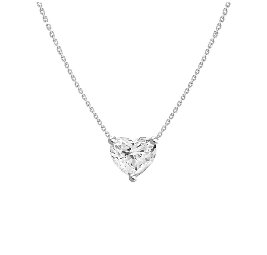 0.3ct Floating Diamond Solitaire Heart Necklace