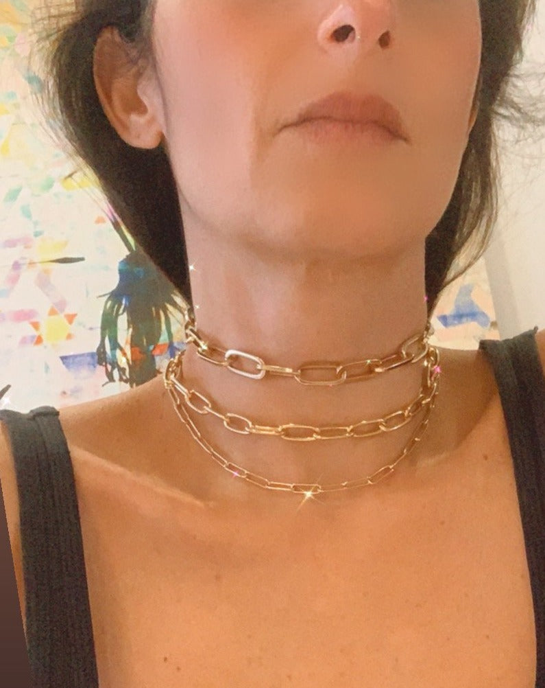 SELENE HAMMERED PAPERCLIP CHAIN