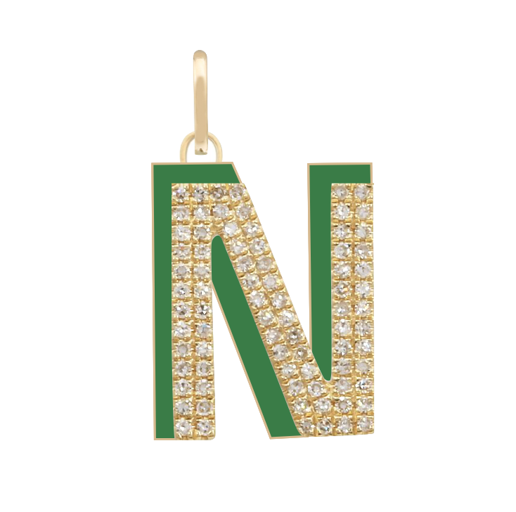 Enamel and Diamond Initial Charm